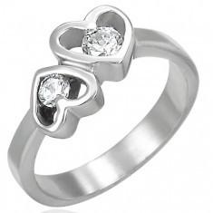 Inel din oțel cu două inimioare - Inel de logodna