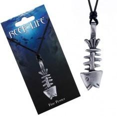 Colier - șnur și pandantiv metalic, schelet de pește cu patină