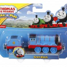 Trenulet locomotiva metalica Gordon cu vagon - Thomas&Friends Take N Play - Trenulet de jucarie Fisher Price