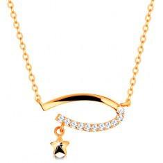 Colier din aur 14K - oval incomplet cu zirconii transparente, stea, lanţ subţire - Colier aur