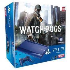 Consola Sony Ps3 Slim 500Gb Blue Plus Joc Watch Dogs - Jocuri PS3