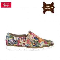 Pantofi dama piele naturala RIEKER multicolor (Marime: 38) - Pantof dama