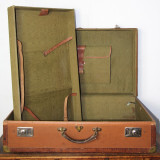 Geamantan Vintage 1890-1915, Paul Milker, lemn, piele si alama; Valiza; Geanta