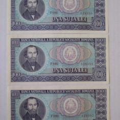 3 BANCNOTE 100 LEI 1966 UNC SERII CONSECUTIVE