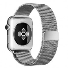 Curea pentru Apple Watch 38mm Otel Inoxidabil iUni Silver Milanese Loop - Smartwatch