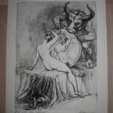 "GRAVURA MARCEL CHIRNOAGA ""LA OGLINDA"" / EXEMPLAR IV DIN X - Pictor roman, Abstract, Cerneala"