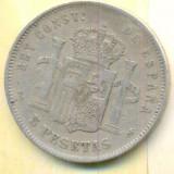 Spania 5 pesetas 1892- Ag 900 - 25g