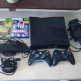 Xbox 360 Microsoft Slim 250GB + Senzor Kinect + 2 wireless controllers + 2jocuri