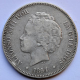 5 Pesetas 1894 - Spania - Argint - 25 grame 900/1000