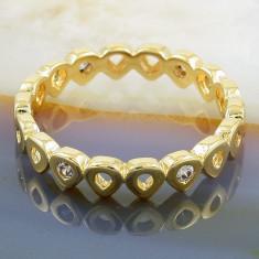 Inel Placat cu Aur 18K, cu Zirconiu, cod 955 - Inel placate cu aur