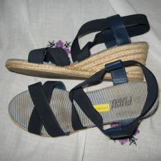 Sandale Fugu platforma Mar 41 - Sandale dama, Culoare: Bleumarin, Textil
