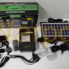 Kit Solar panou 7W GD8121 + USB + Lanterna cap + 3 becuri + Acumulator 6V4A - Panouri solare