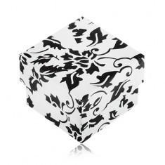 Cutie de cadou pentru inel, alb cu negru cu motiv floral - Cutie Bijuterii