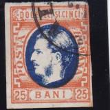 ROMANIA  1869 , CAROL I CU FAVORITI , VAL 25 BANI  PORTOCALIU/ALBASTRU , STAMP.