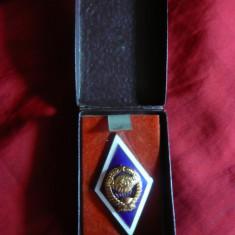 Insigna Academia Militara URSS, metal aurit si email, h=5cm