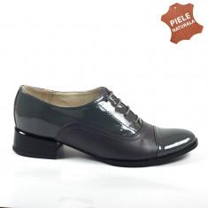 Pantofi dama piele naturala KELLY gri box + lac (Marime: 39)