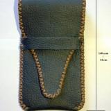 UNICAT - Etui pentru stilou, din piele neagra (handmade, lucrat manual 100%)