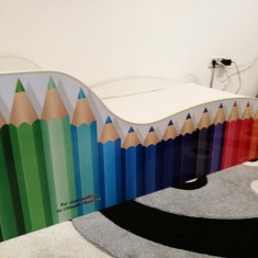 Pat copii Creioane Picasso + saltea + 2 huse impermeabile - Pat tematic pentru copii Altele, Alte dimensiuni