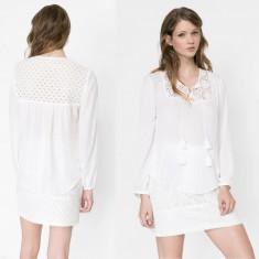 Bluza Dama Desigual cu dantela, Marime: XS, S, M, L, XL, Culoare: Din imagine, Maneca lunga, Universala, Poliester