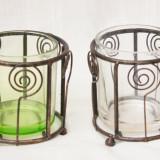 Doua suporturi lumanare din metal si sticla