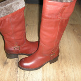 LICHIDARE STOC! Superbe cizme dama DUNE noi piele manusa grena imblanite Sz 39!, Piele naturala