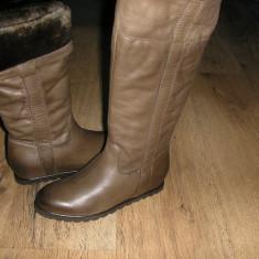 LICHIDARE STOC ! Superbe cizme NOI piele manusa imblanite platforma interna 37! - Cizme dama, Culoare: Cappuccino, Piele naturala