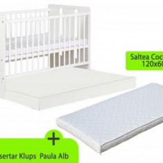 Patut lemn pentru bebelusi - Patut cu sertar Paula si Saltea 10 MyKids Alb Klups