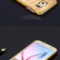 Husa SAMSUNG GALAXY S6 cromata margini aurii gold cu design piele crocodil 2016 - Husa Telefon Samsung, Husa