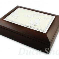 Cutie Bijuterii - Caseta din Lemn Natural, cu placheta argintie, cod 19