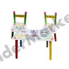 Masuta/scaun copii - Masuta si scaune pentru copii - imprimeu cu litere si masini