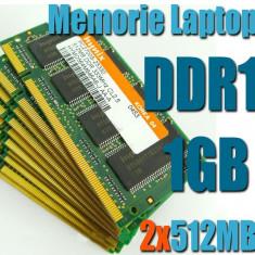 Memorie Laptop DDR1 2x512MB(1GB) FSB 400/333 Testate Garantie 6 Luni - Memorie RAM laptop
