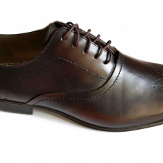 Pantofi barbati lux - eleganti din piele naturala maro cu siret - Model Nino