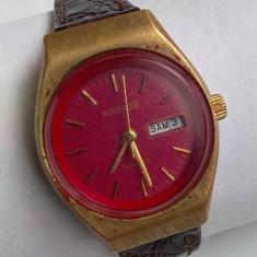 Ceas de dama Radius placat cu aur - Ceas dama, Elegant, Quartz, Piele, Ziua si data