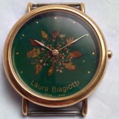 Ceas dama, Lux - elegant, Quartz, Placat cu aur, Analog, 2000 - prezent - Ceas de firma Laura Biagiotti, placat cu aur si cadran email pictat manual