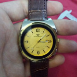 Ceas EMPORIO ARMANI - Cadran Auriu, Modelul 2, Curea Piele, Barbatesc - Ceas barbatesc Armani, Casual, Quartz, Inox, Analog