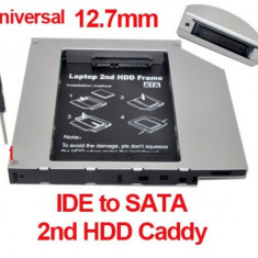 Adaptor interfata PC - Hard disk caddy adaptor de la unitate optica IDE la HDD SATA 12.7mm HDD / SSD