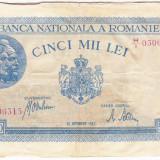 1)Bancnota 5000 lei 28 septembrie 1943 portret Traian+Decebal, An: 1943
