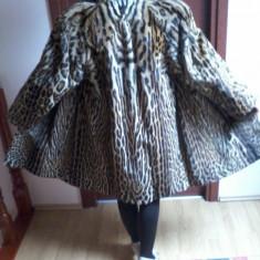 Palton dama - Reducere ! HAINA DE BLANA, DE LUX, OCELOT, FELINA RARA DIN AMERICA DE SUD.