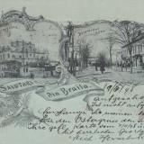 SALUTARI DIN BRAILA, BISERICA GRECEASCA SI BULEVARDUL CUZA, LITOGRAFIE 1898 - Carte Postala Muntenia pana la 1904, Braila, Circulata, Printata