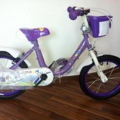 Bicicleta copii, 16 inch, 16 inch, Numar viteze: 1 - Bicicleta Fetite 16 inch 4 - 6 ani cu roti ajutatoare Junior Mov