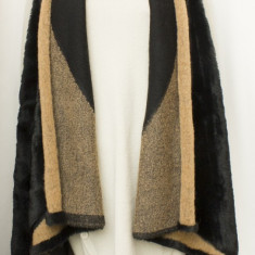 Vesta stil poncho, lunga, cu blana ecologica, fashion, noua marime L/XL - Vesta dama, Culoare: Din imagine