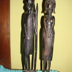 Arta din Africa - Doua statuete din lemn de abanos, arta africana (3)