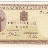 Bancnota 500 lei 2 IV 1941 filigran vertical XF/a.UNC (5), An: 1941