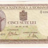 Bancnota 500 lei 2 IV 1941 filigran vertical XF/a.UNC (3), An: 1941