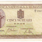 Bancnota 500 lei 2 IV 1941 filigran vertical XF/a.UNC (4), An: 1941