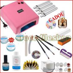 Trusa manichiura BeautyUkCosmetics - Kit manichiura set unghii fasle gel lampa uv 36w