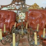 candelabru vechi unicat din bronz masiv cu ornamente portelan 8 brate