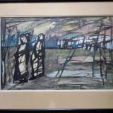 PAUL ACKERMAN (1908, Iaşi-1981, Paris) - Tehnica mixta, anii'40 - Pictor roman, Peisaje, Guasa, Realism