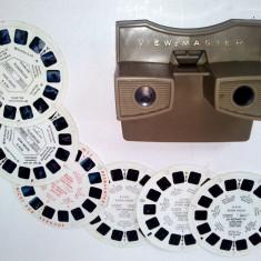 Stereoscop VIEW MASTER, cu 6 diapozitive 3D, 2 aviatie - Aparat de Colectie