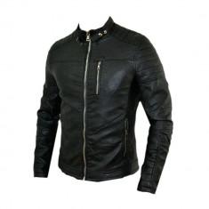 Geaca barbati - Geaca tip Zara Man, Motto, Neagra, Piele Eco, Toate Masurile D350